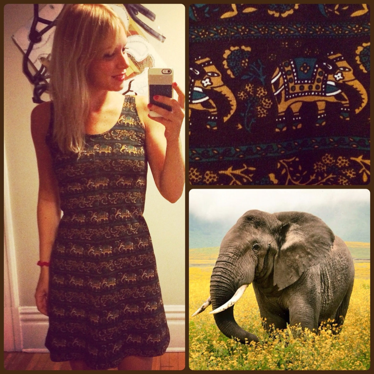 Elephant print Alabama Chanin Dress