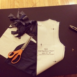 Using the Burda pattern as a gauge for armhole & bust/waist sizing.