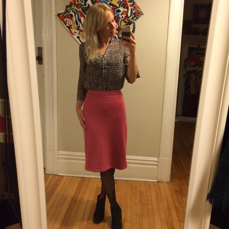 After, paired with a blouse. (Skirt is gently pinned in the back 1.5-2 inches)