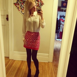 After-the skirt- for colder months paired with a blouse