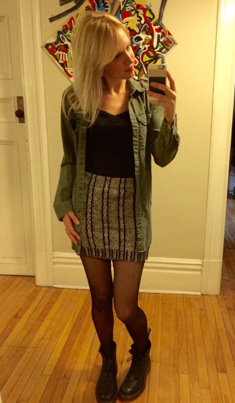 Paired with an olive button shirt and Dr. Martens!