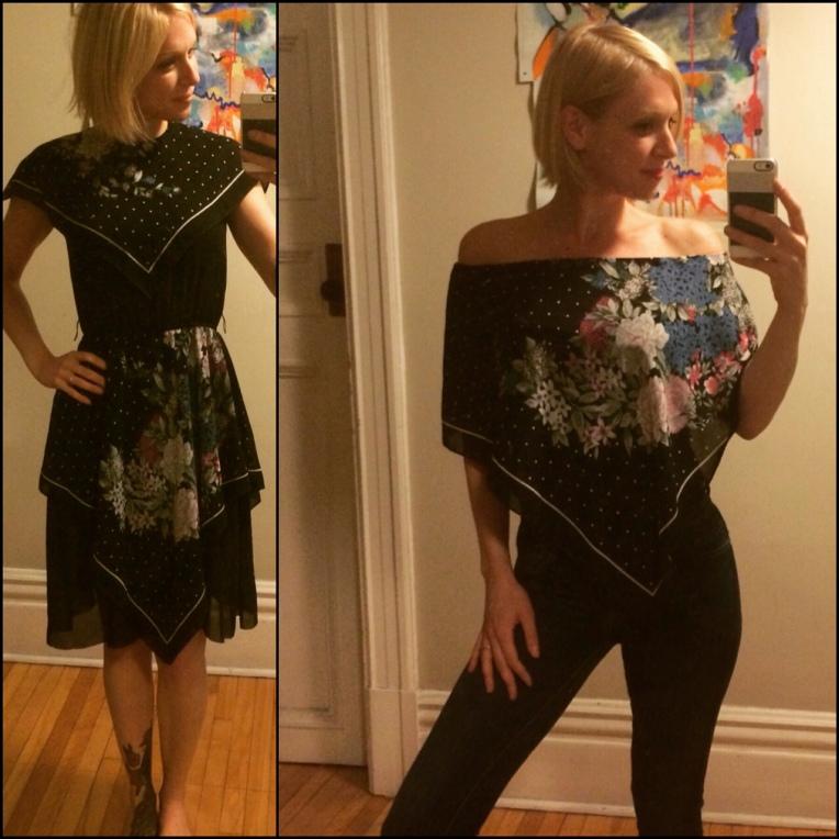 Tashenka upcycle dress to scarf-blouse