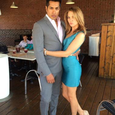 Nastassia showing off her stellar self-made dress, with her boyfriend Sam.