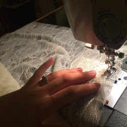 Sewing with the beautiful lace.