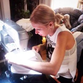 Working away on Wedding dress #2 (photo courtesy of Andrée-Anne)